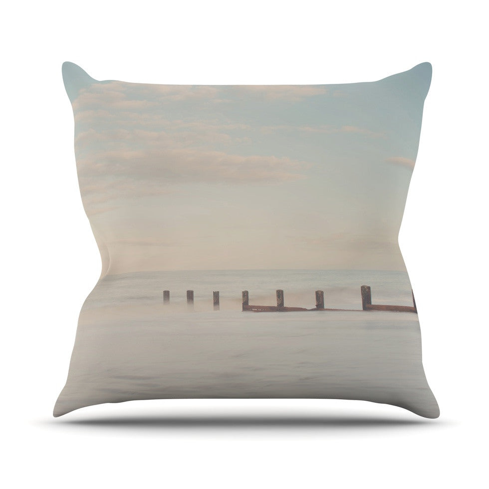 "Laura Evans ""The Rising Tide"" Brown Gray Throw Pillow - KESS InHouse  - 1"