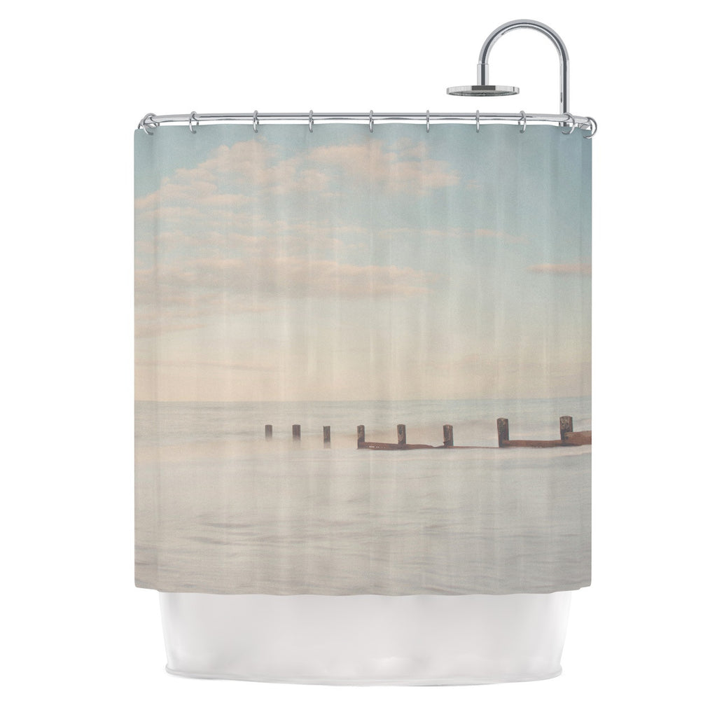 "Laura Evans ""The Rising Tide"" Brown Gray Shower Curtain - KESS InHouse"