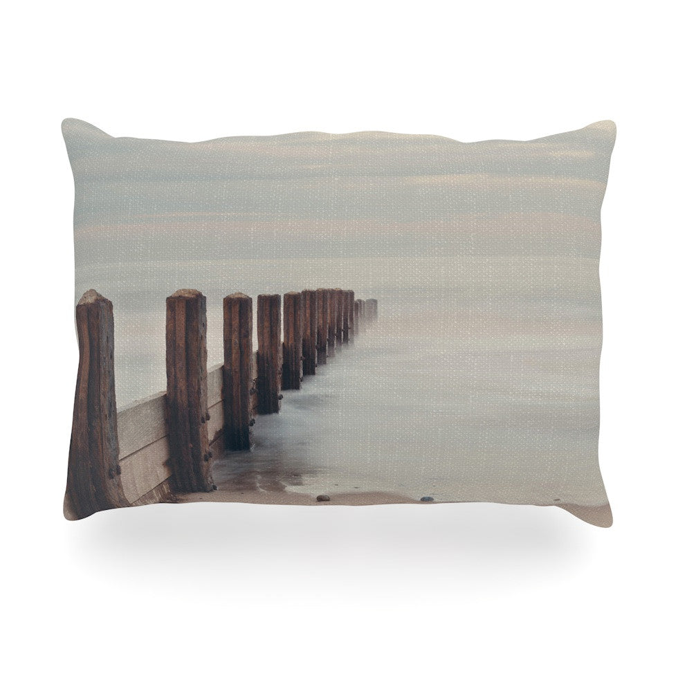 "Laura Evans ""Brush Strokes"" Brown Gray Oblong Pillow - KESS InHouse"