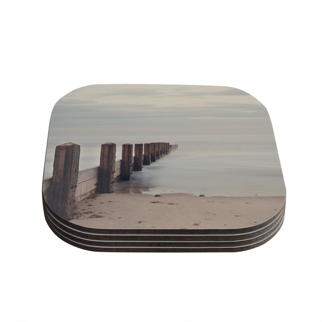 "Laura Evans ""Brush Strokes"" Brown Gray Coasters (Set of 4)"