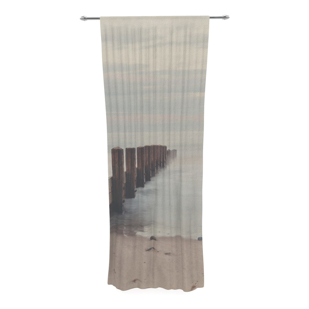"Laura Evans ""Brush Strokes"" Brown Gray Decorative Sheer Curtain - KESS InHouse  - 1"