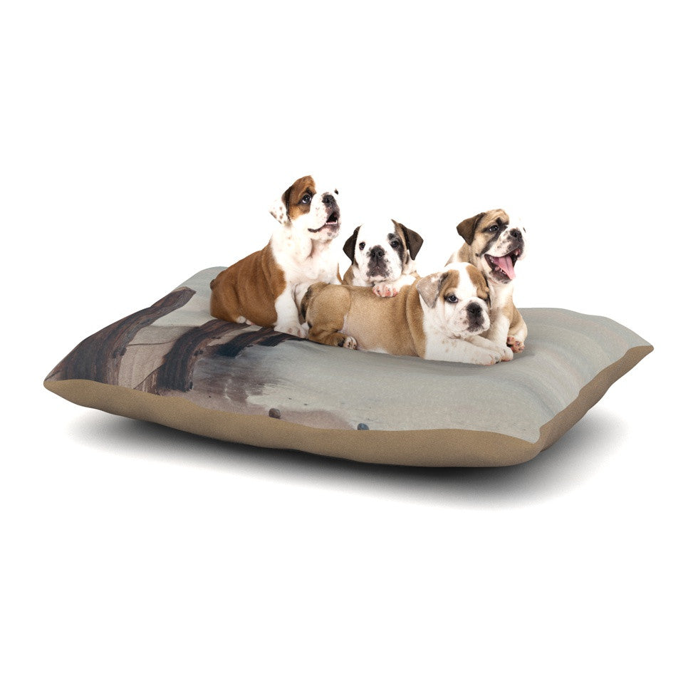 "Laura Evans ""Brush Strokes"" Brown Gray Dog Bed - KESS InHouse  - 1"