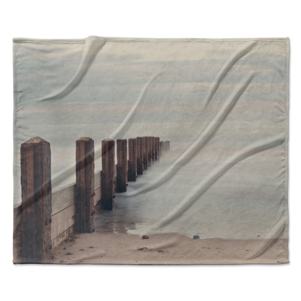 "Laura Evans ""Brush Strokes"" Brown Gray Fleece Throw Blanket"