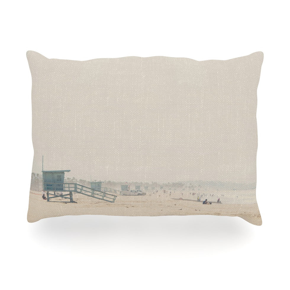 "Laura Evans ""Summer Haze"" Coastal Brown Oblong Pillow - KESS InHouse"