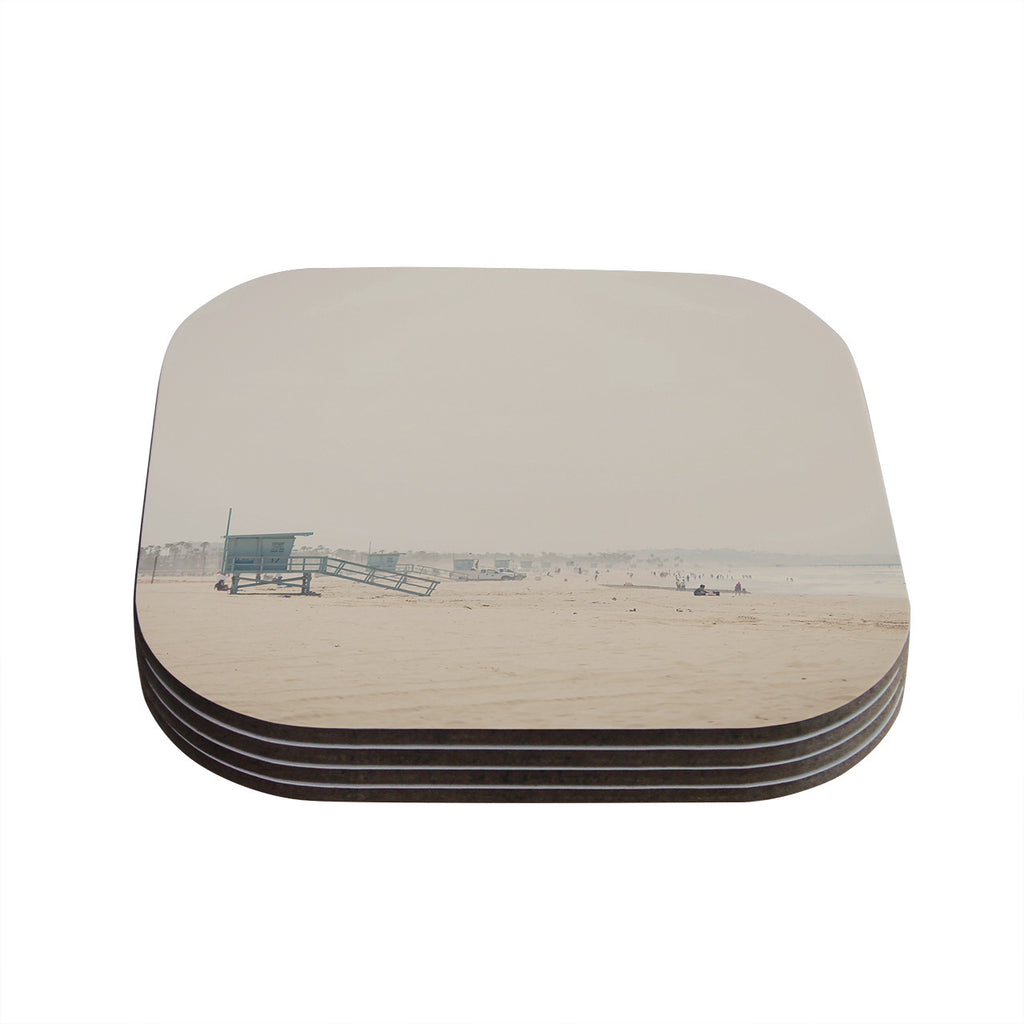 "Laura Evans ""Summer Haze"" Coastal Brown Coasters (Set of 4)"