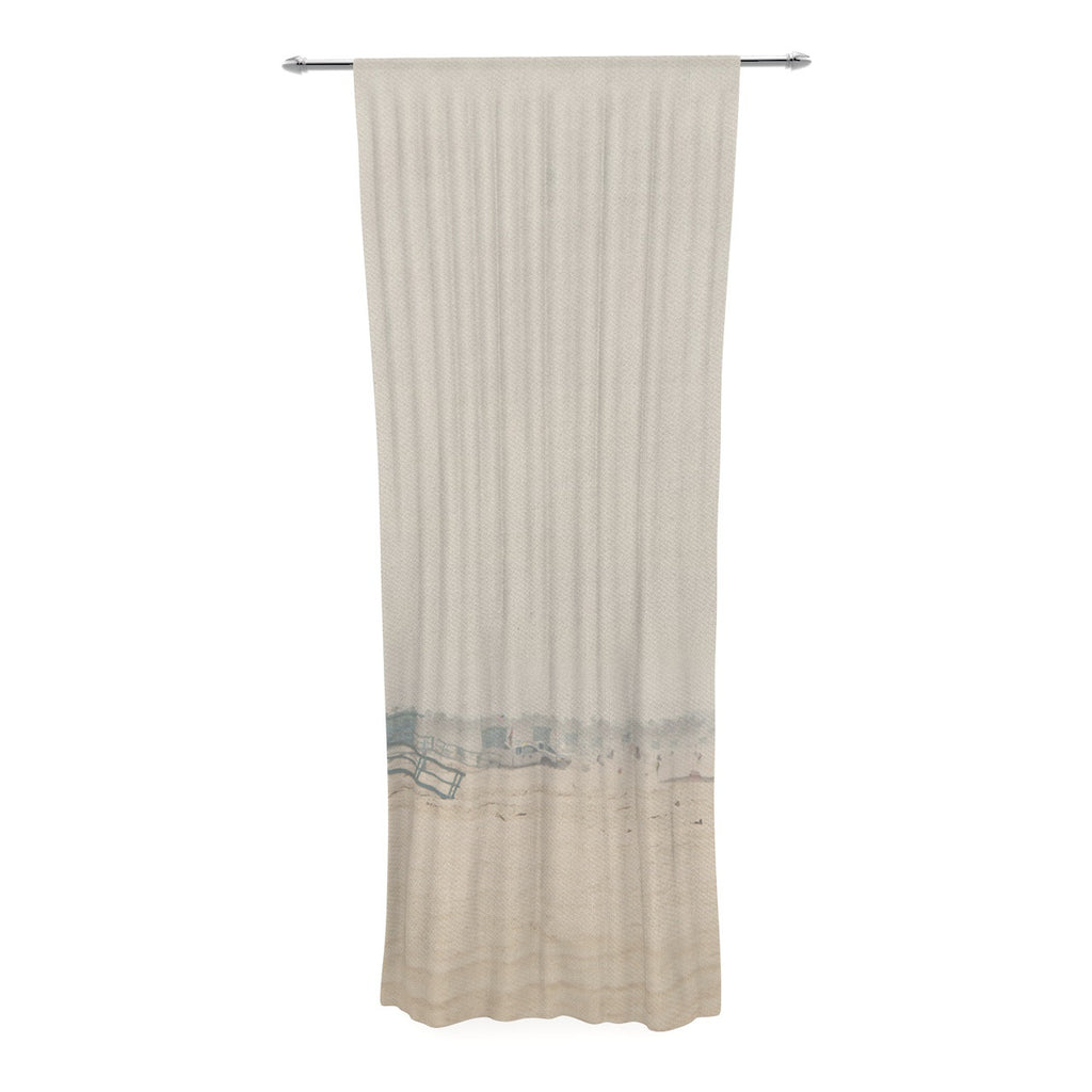 "Laura Evans ""Summer Haze"" Coastal Brown Decorative Sheer Curtain - KESS InHouse  - 1"