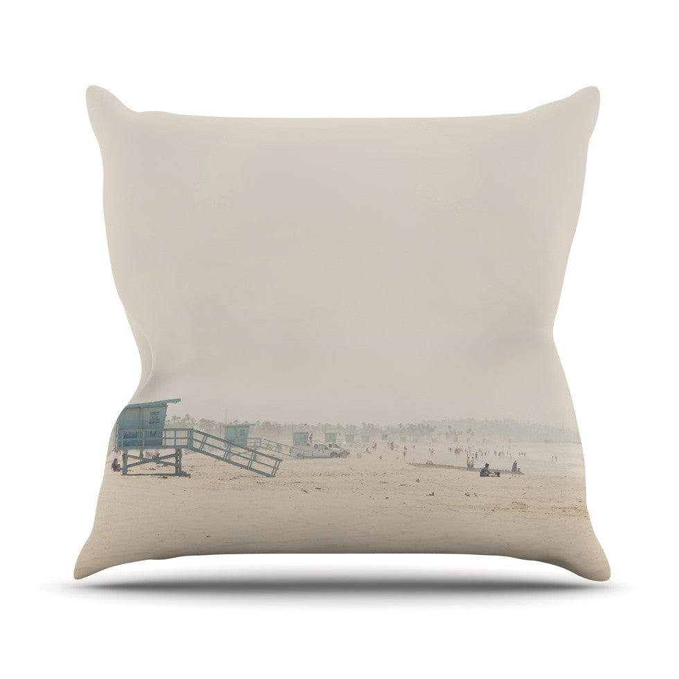"Laura Evans ""Summer Haze"" Coastal Brown Outdoor Throw Pillow - KESS InHouse  - 1"