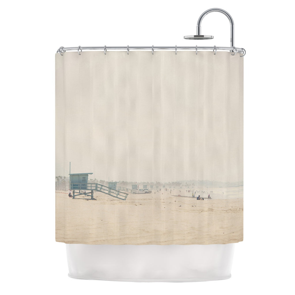 "Laura Evans ""Summer Haze"" Coastal Brown Shower Curtain - KESS InHouse"