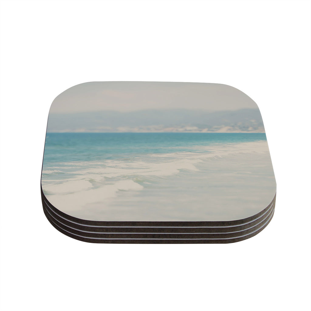 "Laura Evans ""Waves"" Blue Gray Coasters (Set of 4)"