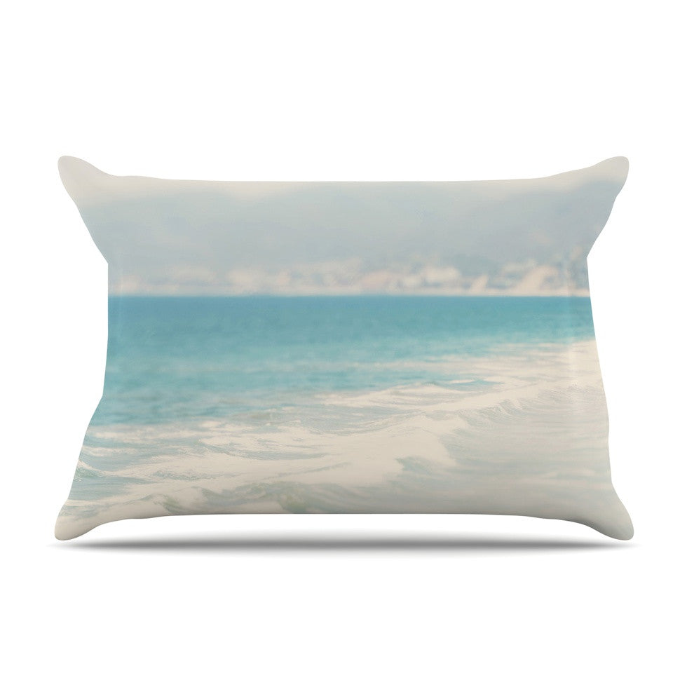 "Laura Evans ""Waves"" Blue Gray Pillow Sham - KESS InHouse"