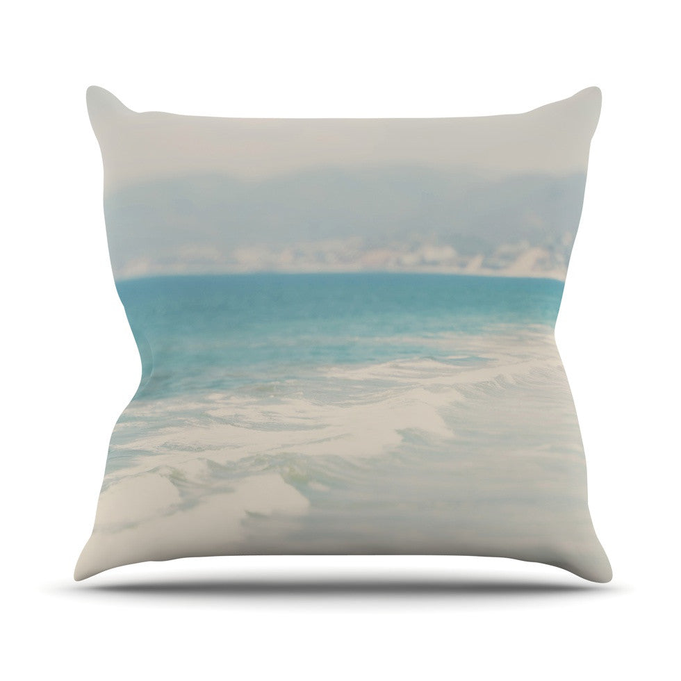 "Laura Evans ""Waves"" Blue Gray Outdoor Throw Pillow - KESS InHouse  - 1"