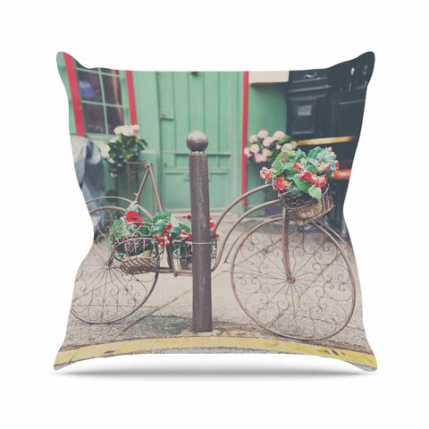"Laura Evans ""Bicycle Art"" Green Multicolor Photography Throw Pillow"