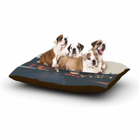 "Laura Evans ""Crossing The Thames"" Blue Multicolor Photography Dog Bed"