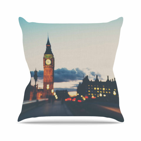 "Laura Evans ""Crossing The Thames"" Blue Multicolor Photography Throw Pillow"