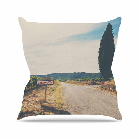 "Laura Evans ""Leaving Jonquieres"" Green Multicolor Photography Throw Pillow"