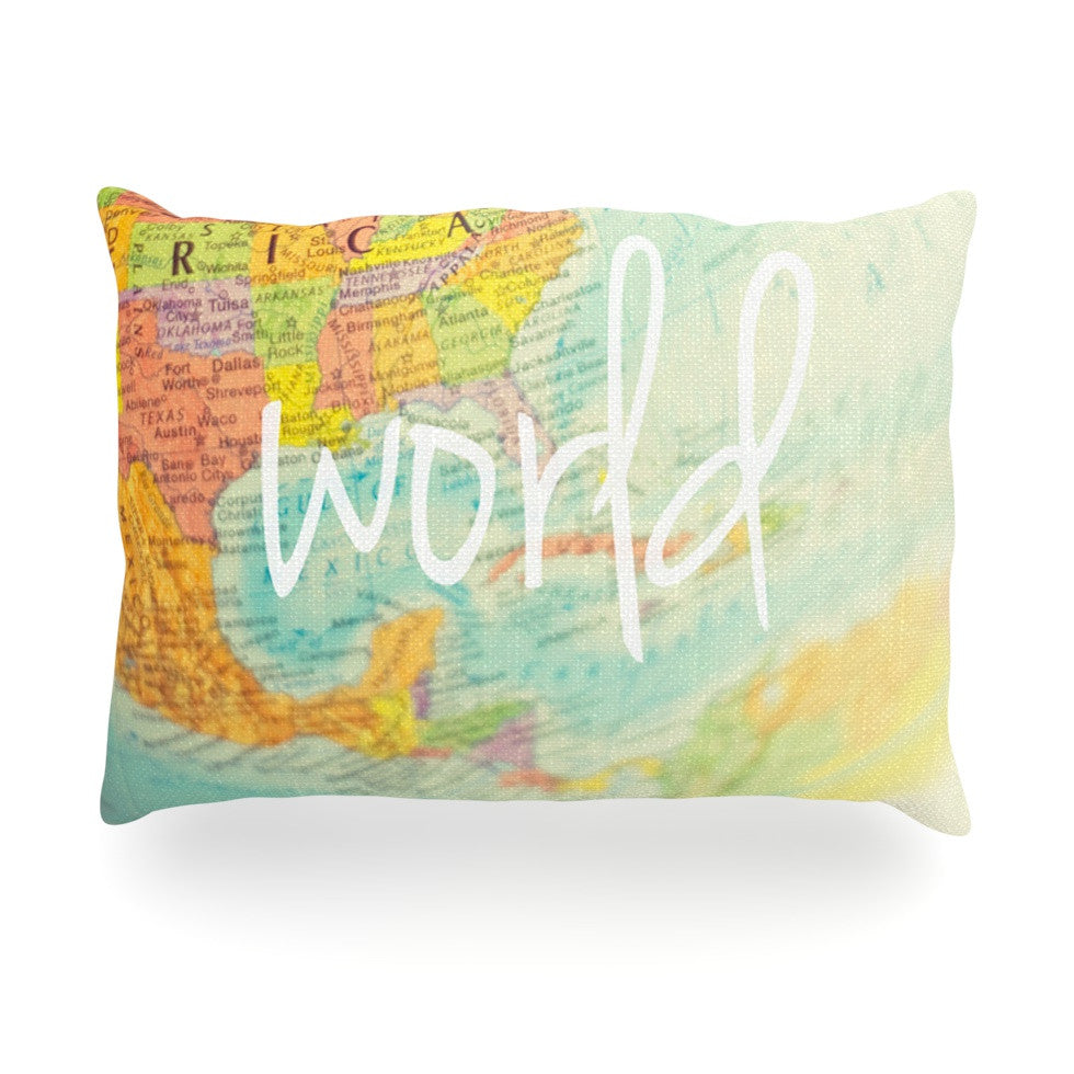 "Libertad Leal ""What a Wonderful World"" Map Oblong Pillow - KESS InHouse"