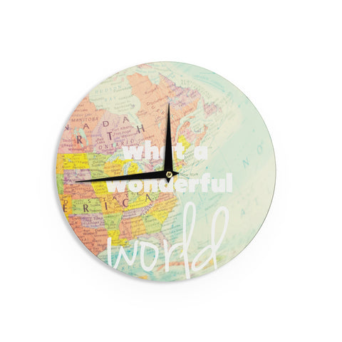 "Libertad Leal ""What a Wonderful World"" Map Wall Clock - Outlet Item"
