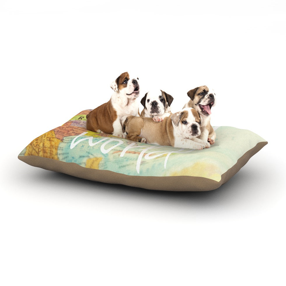 "Libertad Leal ""What a Wonderful World"" Map Dog Bed - KESS InHouse  - 1"
