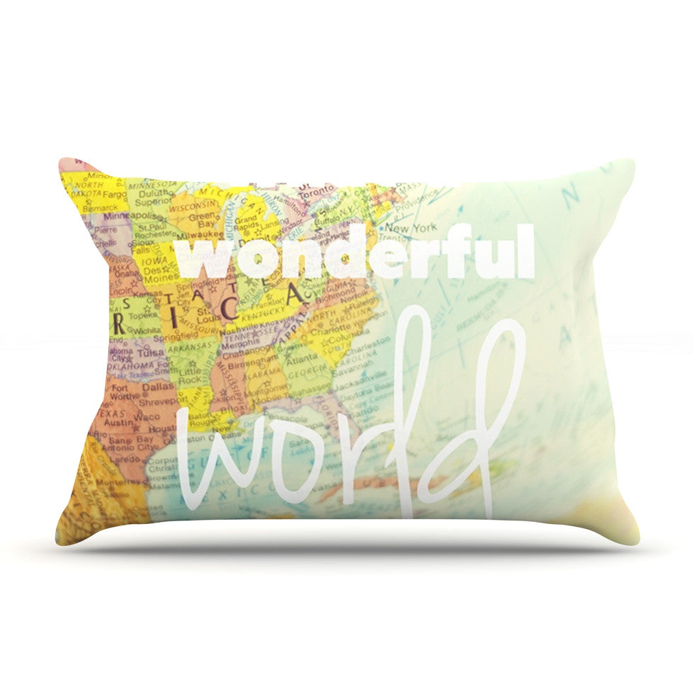 "Libertad Leal ""What a Wonderful World"" Map Pillow Sham - KESS InHouse"