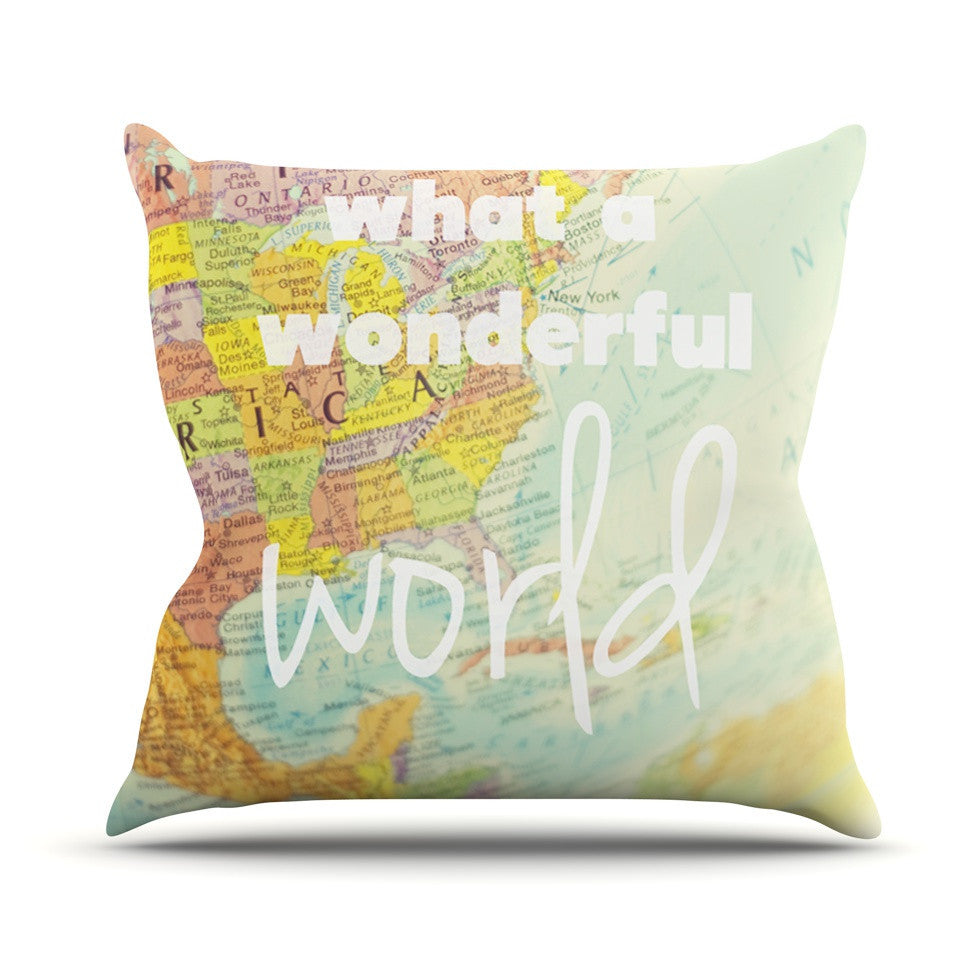 "Libertad Leal ""What a Wonderful World"" Map Outdoor Throw Pillow - KESS InHouse  - 1"