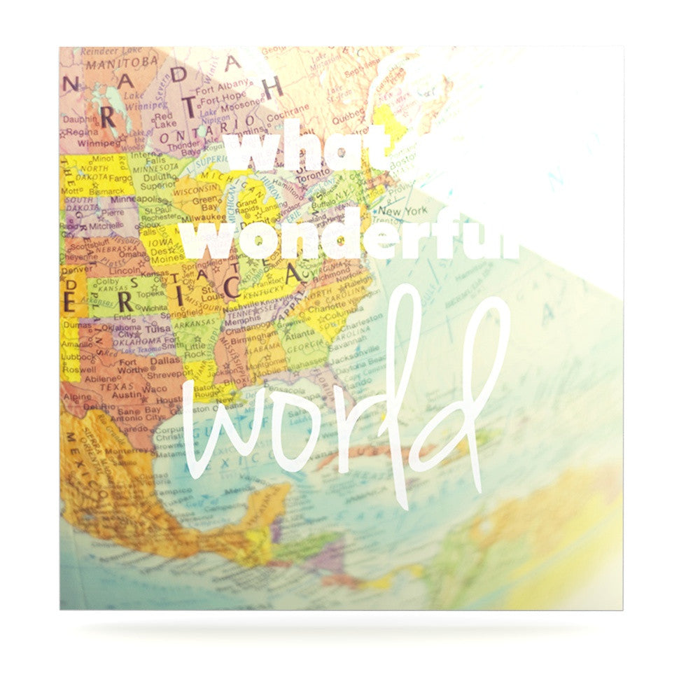 "Libertad Leal ""What a Wonderful World"" Map Luxe Square Panel - KESS InHouse  - 1"