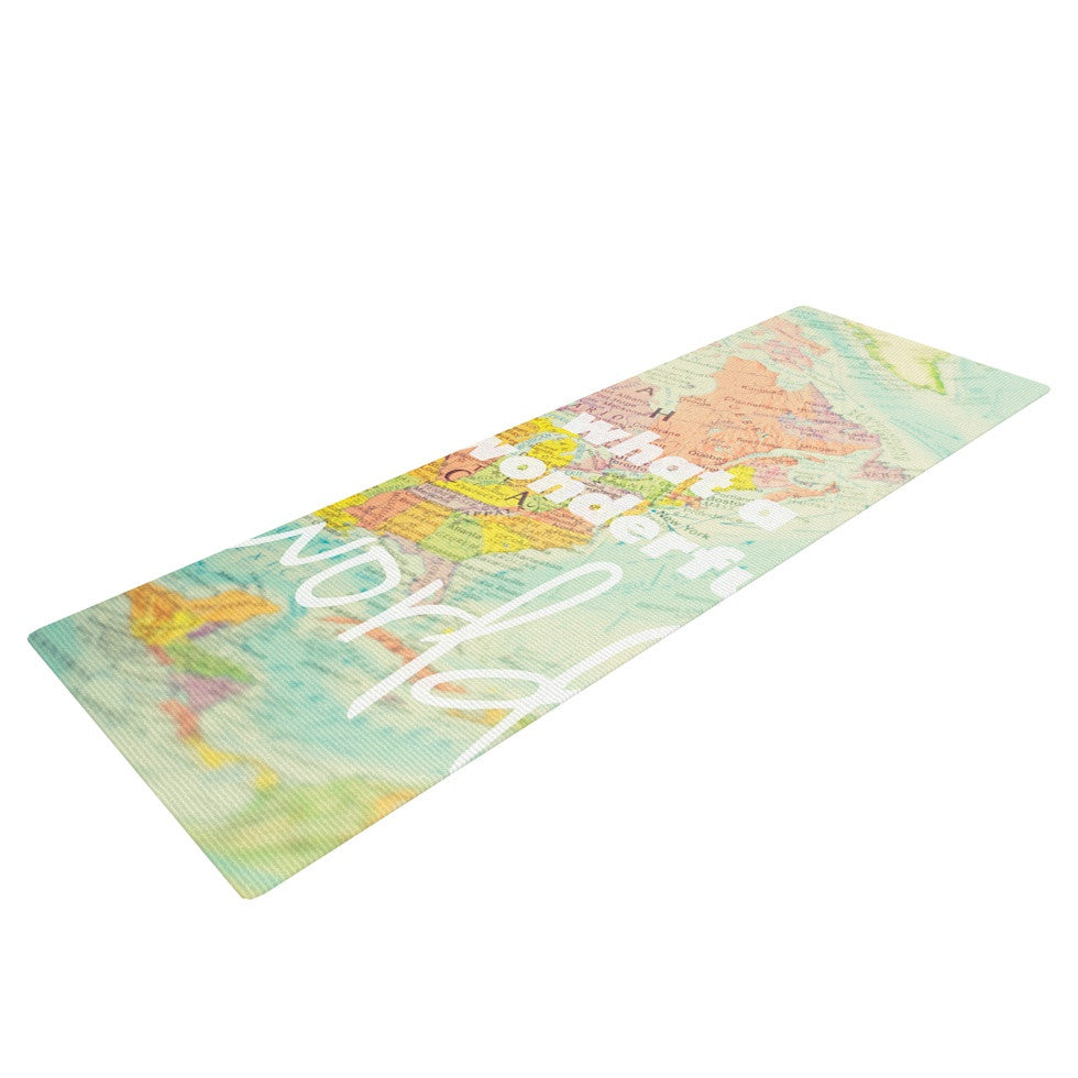 What a wonderful world yoga mat by libertad leal kess inhouse libertad leal what a wonderful world map yoga mat kess inhouse 1 gumiabroncs Gallery