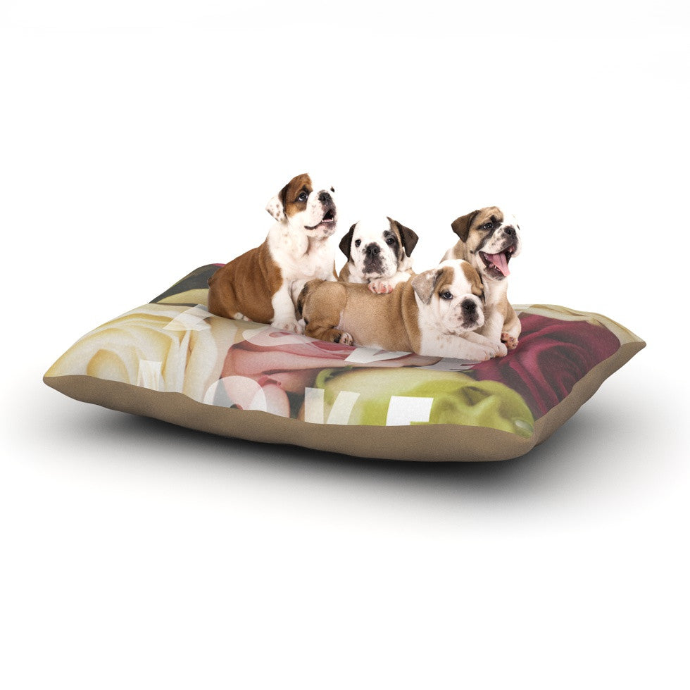 "Libertad Leal ""Love Love Love"" Roses Dog Bed - KESS InHouse  - 1"