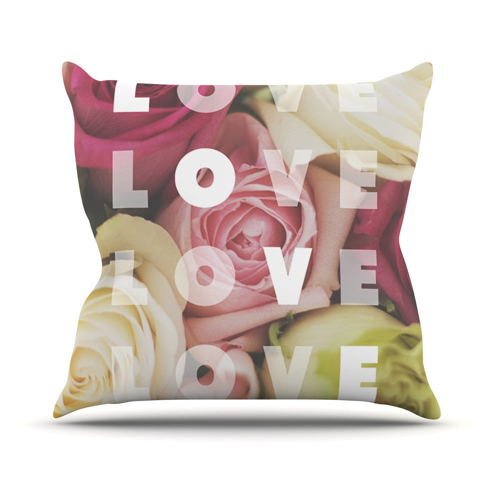 "Libertad Leal ""Love Love Love"" Roses Outdoor Throw Pillow - KESS InHouse  - 1"