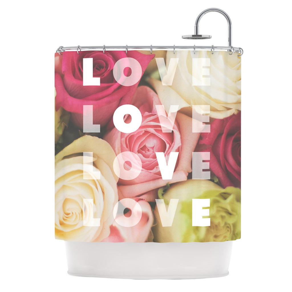 "Libertad Leal ""Love Love Love"" Roses Shower Curtain - KESS InHouse"