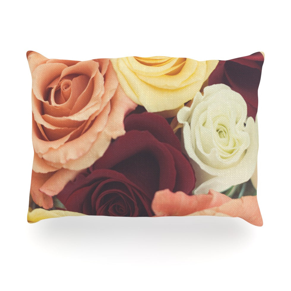 "Libertad Leal ""Vintage Roses"" Oblong Pillow - KESS InHouse"