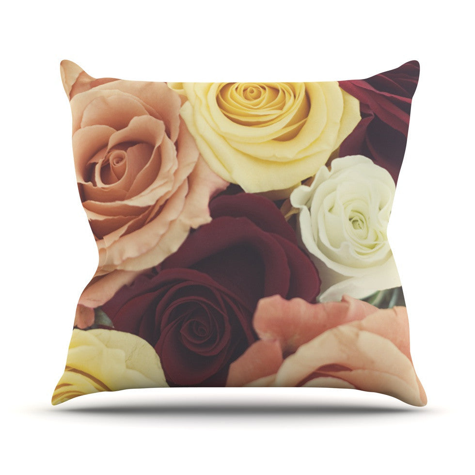 "Libertad Leal ""Vintage Roses"" Outdoor Throw Pillow - KESS InHouse  - 1"
