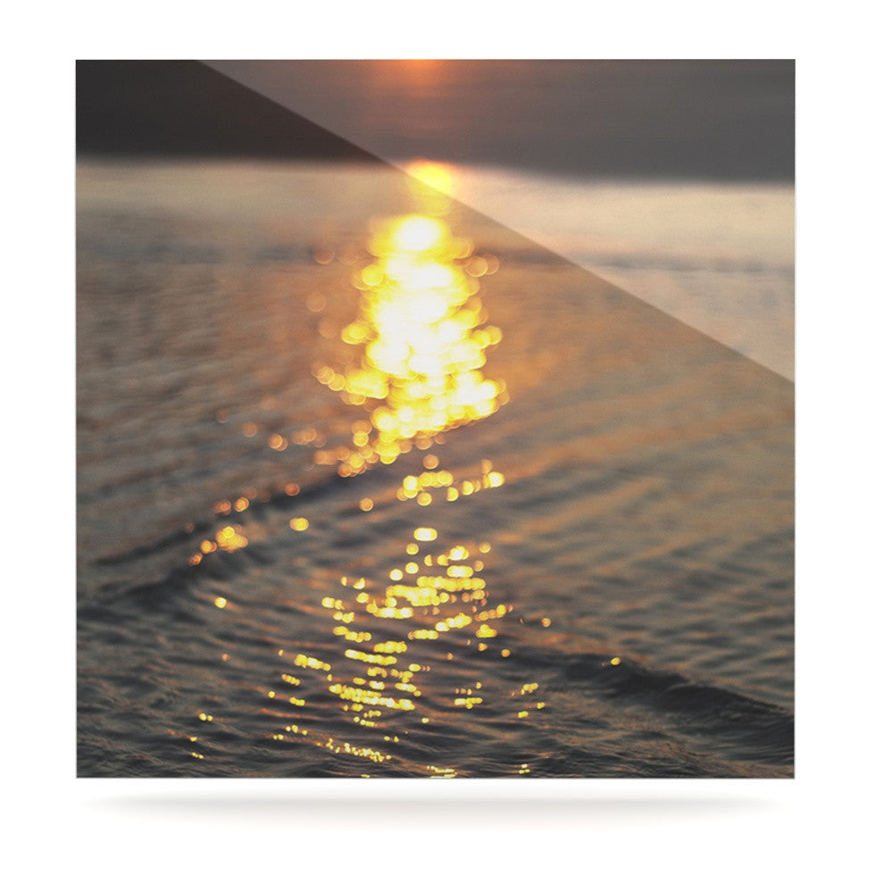"Libertad Leal ""Still Waters"" Sunset Luxe Square Panel - KESS InHouse  - 1"