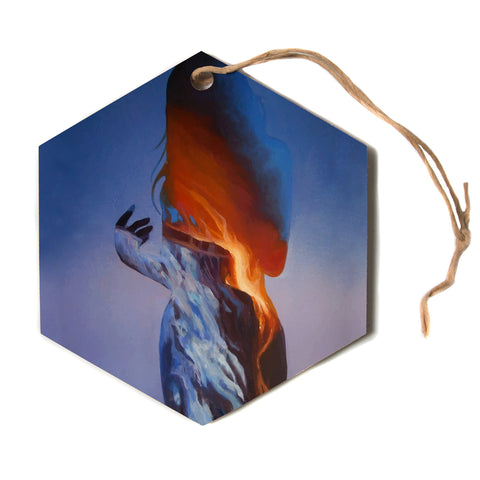 "Lydia Martin ""Volcano Girl""  Hexagon Holiday Ornament"