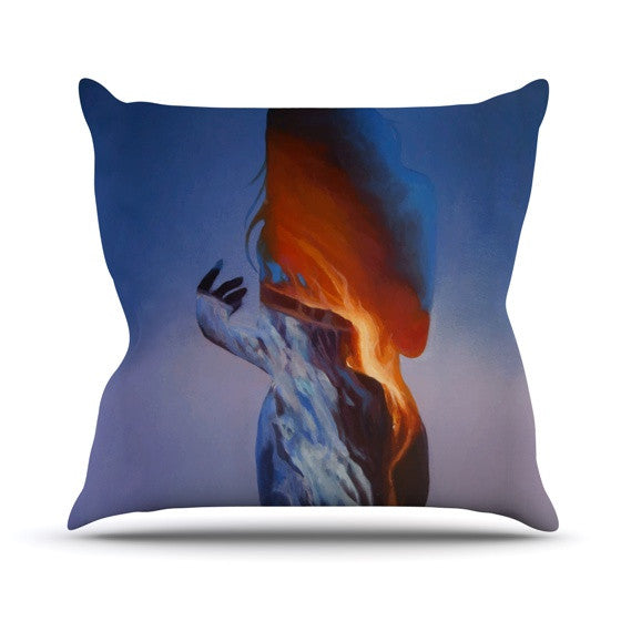 "Lydia Martin ""Volcano Girl Blue"" Outdoor Throw Pillow - KESS InHouse  - 1"