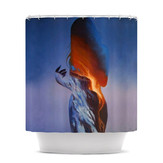 "Lydia Martin ""Volcano Girl Blue"" Shower Curtain - KESS InHouse"