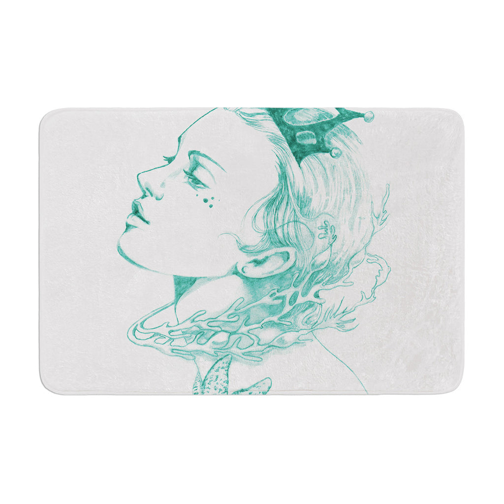 "Lydia Martin ""Queen of the Sea Green"" Memory Foam Bath Mat - KESS InHouse"