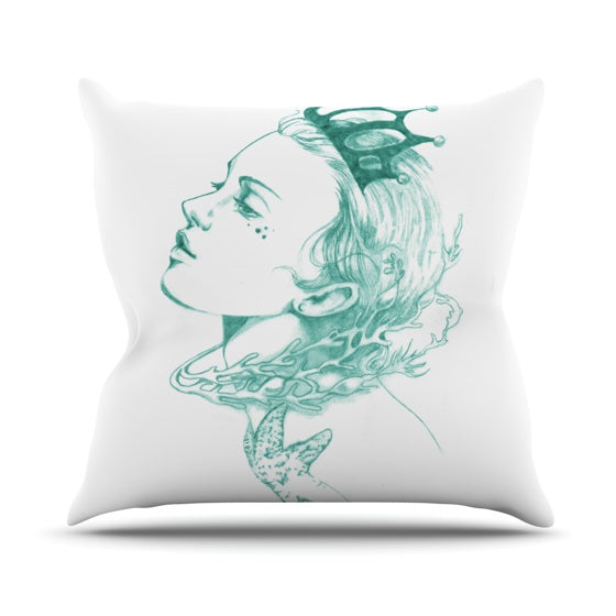"Lydia Martin ""Queen of the Sea Green"" Throw Pillow - KESS InHouse"