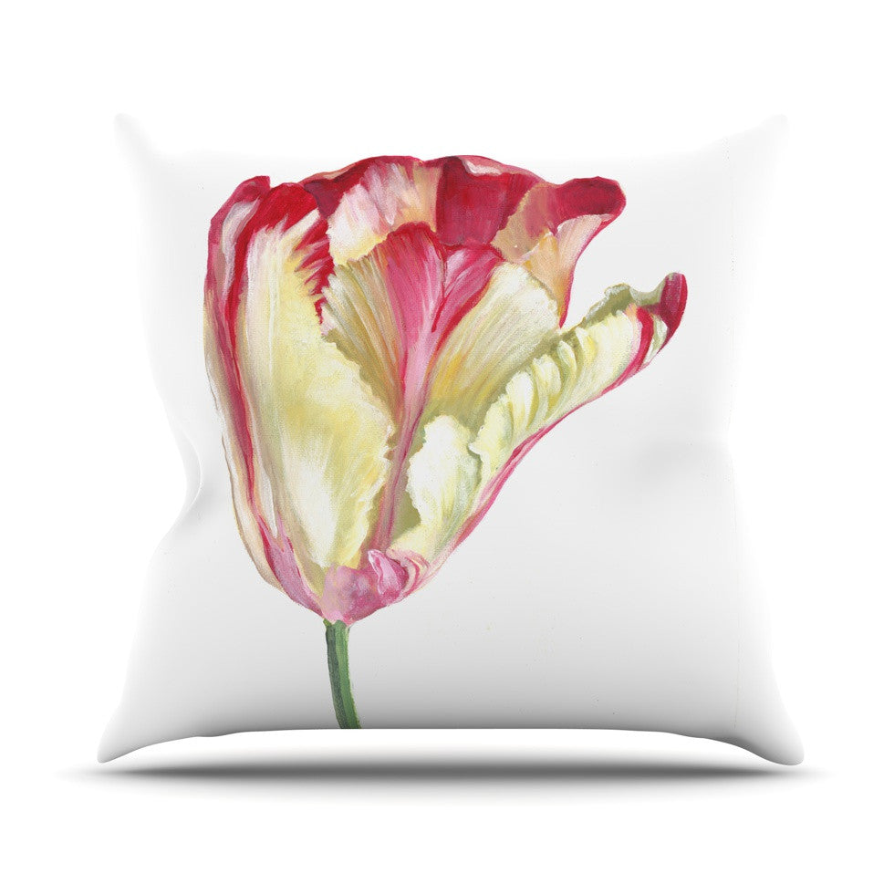 "Lydia Martin ""Red Tip Tulip"" Throw Pillow - KESS InHouse  - 1"