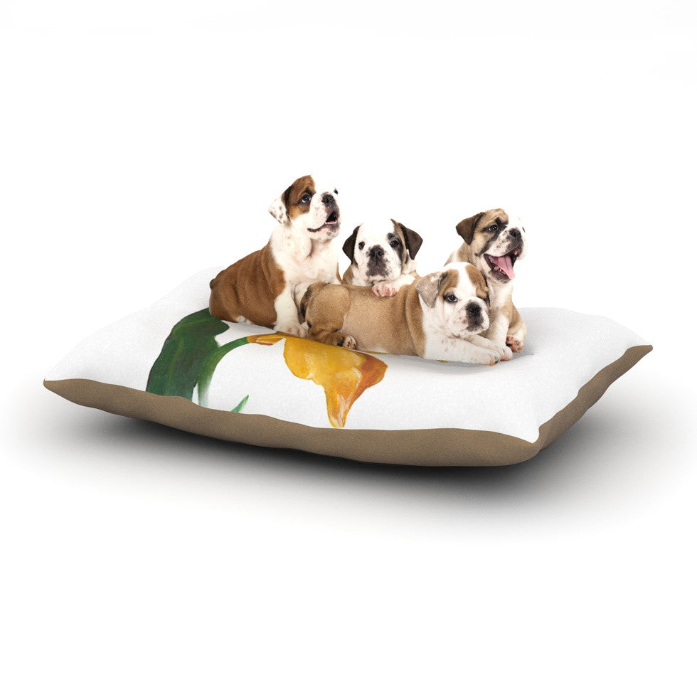 "Lydia Martin ""Yellow Tulip"" Dog Bed - KESS InHouse  - 1"