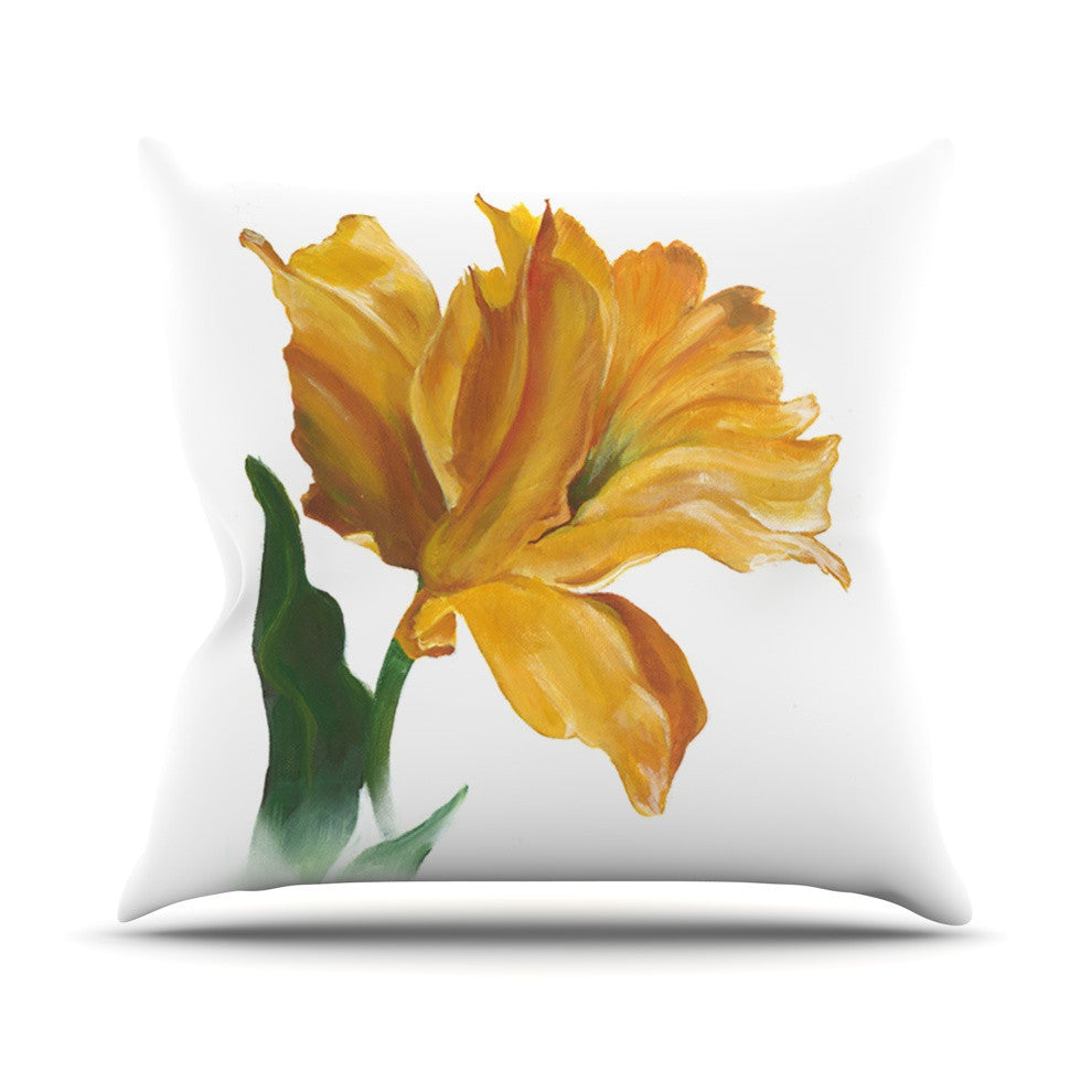 "Lydia Martin ""Yellow Tulip"" Outdoor Throw Pillow - KESS InHouse  - 1"
