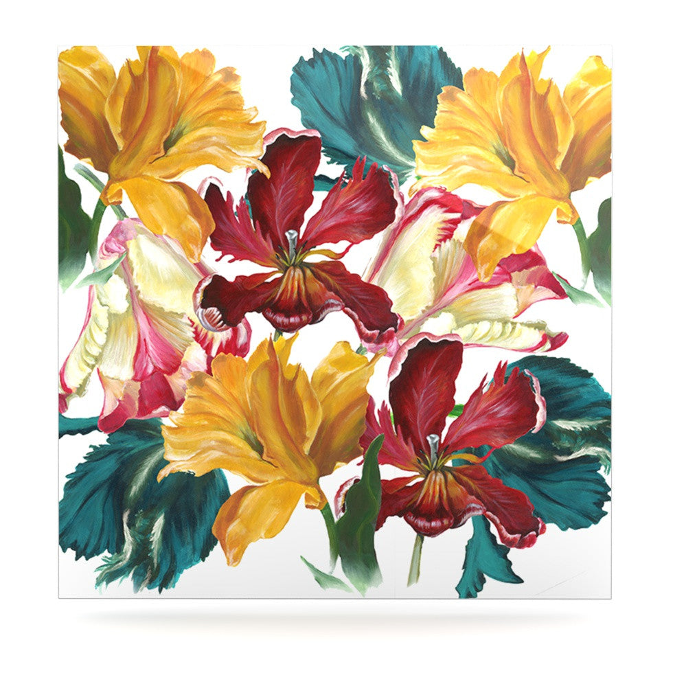 "Lydia Martin ""Flower Power"" Floral Rainbow Luxe Square Panel - KESS InHouse  - 1"
