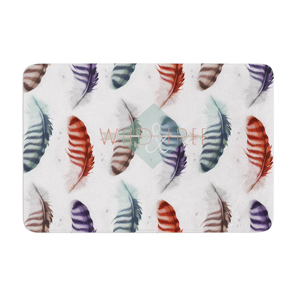 "Lydia Martin ""Wildfree"" Feather White Memory Foam Bath Mat - KESS InHouse"