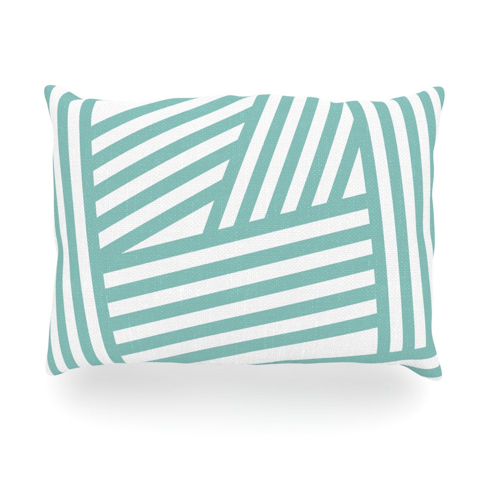 "Louise Machado ""Aqua Stripes"" Oblong Pillow - KESS InHouse"