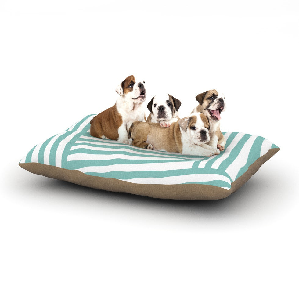 "Louise Machado ""Aqua Stripes"" Dog Bed - KESS InHouse  - 1"