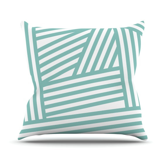 "Louise Machado ""Aqua Stripes"" Throw Pillow - KESS InHouse  - 1"