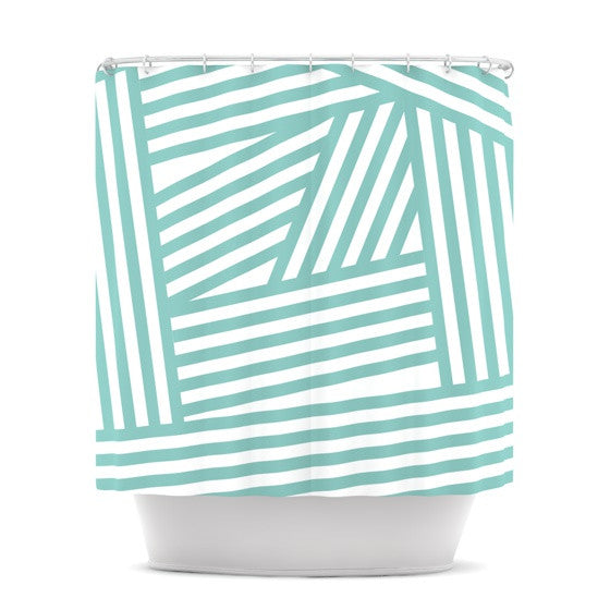 "Louise Machado ""Aqua Stripes"" Shower Curtain - KESS InHouse"