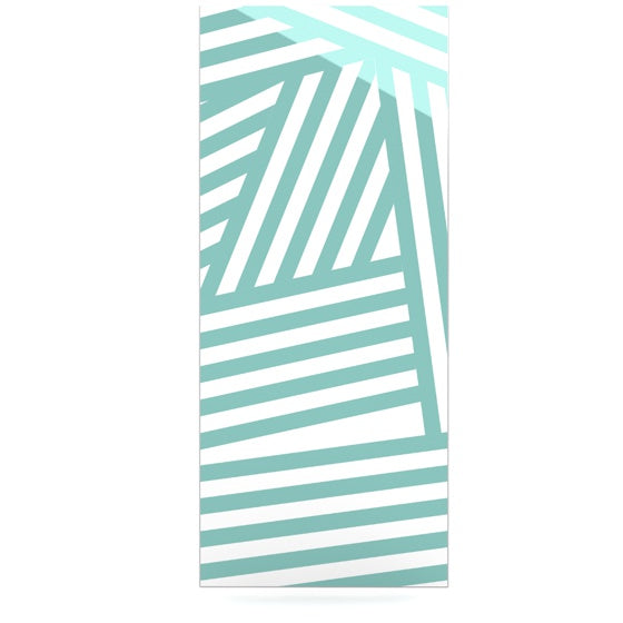 "Louise Machado ""Aqua Stripes"" Luxe Rectangle Metal Art - KESS InHouse  - 1"