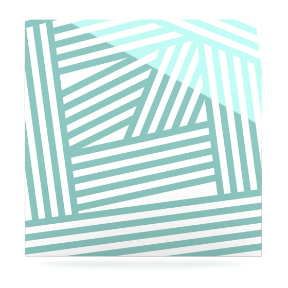 "Louise Machado ""Aqua Stripes"" Luxe Square Metal Art - KESS InHouse  - 1"