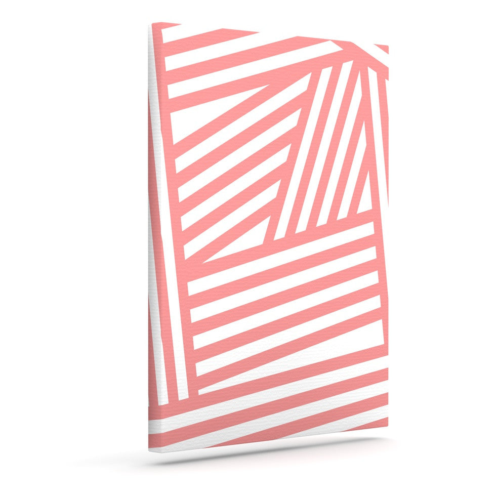 "Louise Machado ""Rose Stripes"" Pink White Canvas Art - KESS InHouse  - 1"