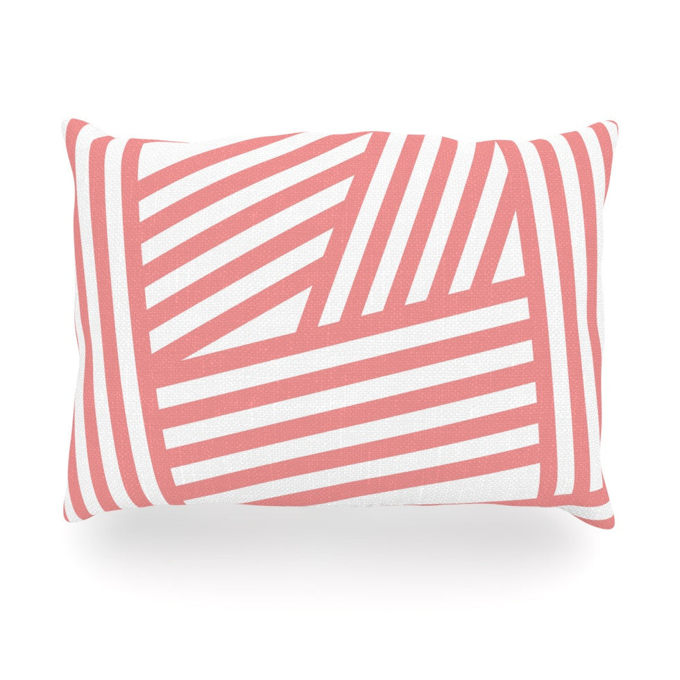 "Louise Machado ""Rose Stripes"" Pink White Oblong Pillow - KESS InHouse"